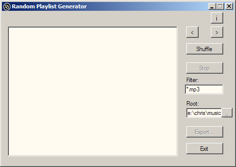 Random playlist Generator Screenshot