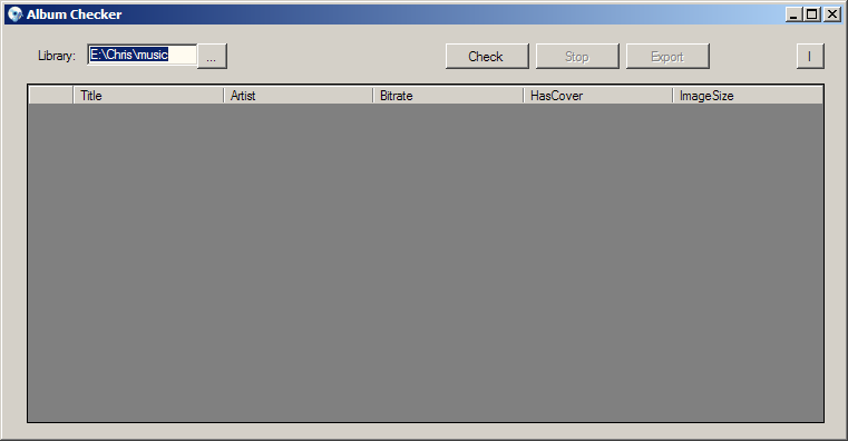 Album checker start-up screen