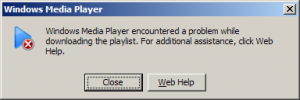Windows Media Player error